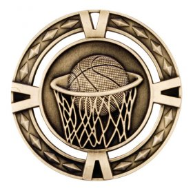 3D Basketball Medal 60mm - Antique Gold, Antique Silver & Antique Bronze