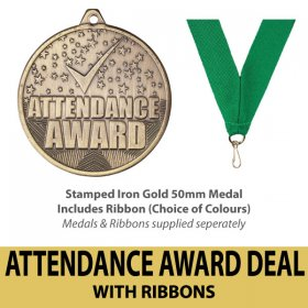 Medal & Ribbon Deal - Stamped Attendance Award 50mm Iron Medals Antique Gold