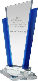 Signature Crystal Award with Blue Trim - 29cm